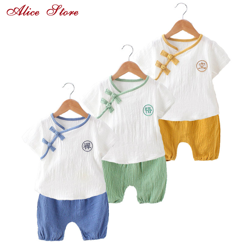 50965aca04 Baby Girls and Boys Chinese Style Clothing Sets Children s Linen Single  Breasted T shirt + Solid