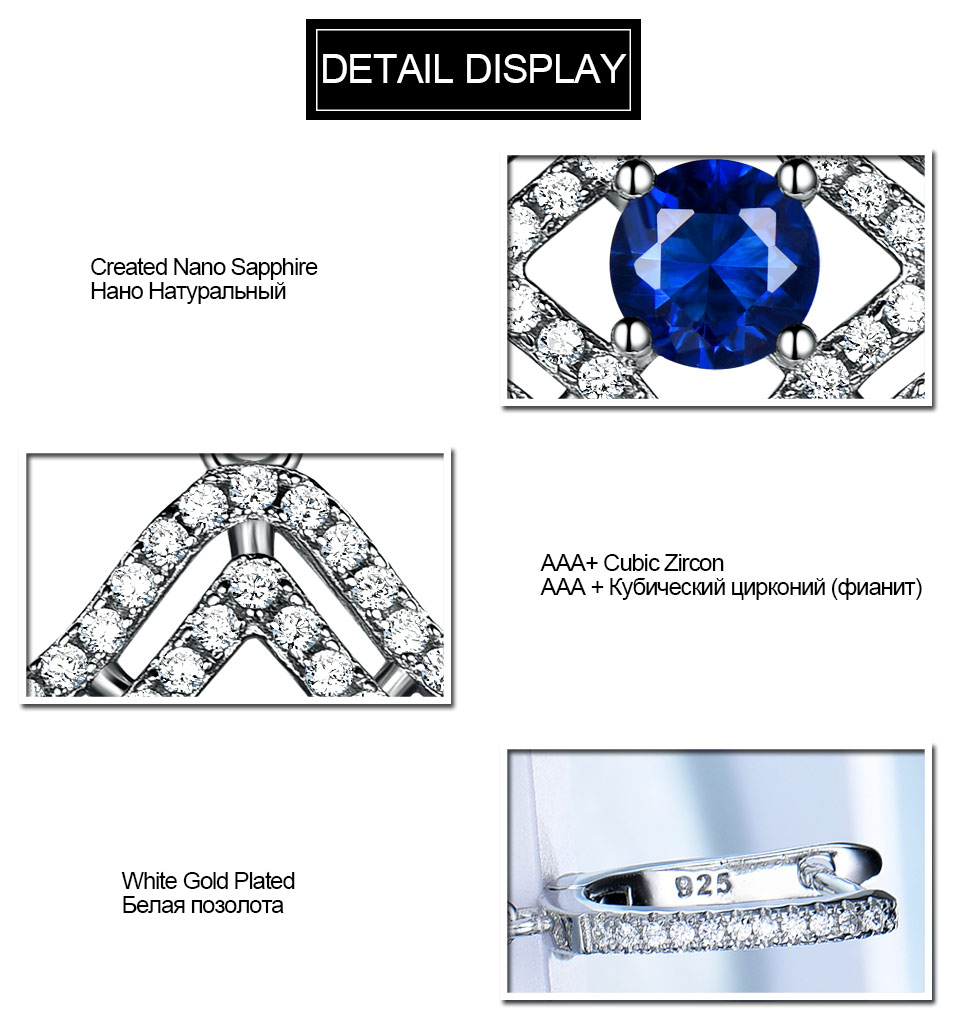 Honyy Sapphire 925 sterling silver jewelry set for women S023S-1 (8)
