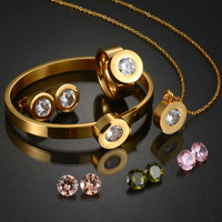 2017 Top Quality 316l Stainless Steel Bridal Jewelry Set Gold Wedding Jewelry Set Party Gift