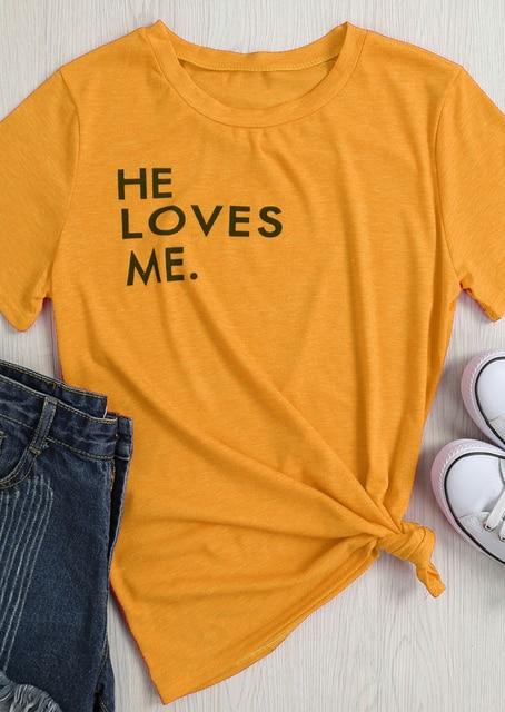 e4065778 He Loves Me Letter Harajuku T-Shirt Yellow Clothing Tee Aesthetic Popular  Girl Top Summer Trendy Slogan Vintage t shirt Oversize