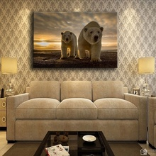 Wall Artwork Animal Poster Modern Home Decorative Living Room 1 Piece White Polar Bears On Beach Picture Canvas Printing Type