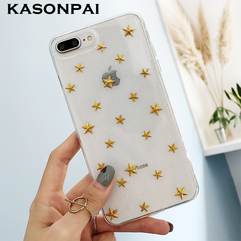 promo code 6a9ff 0479d KASONPAI Luxury Glitter Bling Gold Star Phone Case For iphone X 7 6S 6 8  Plus Fashion Clear Back Cover Cases Shell Fundas