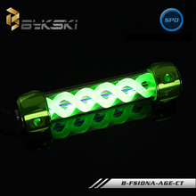 BYKSKI Green 260MM x 50MM Aluminum Acrylic Cylinder Double helix T-Virus Water Computer Cooling Coolant 4 Holes Tank with Light