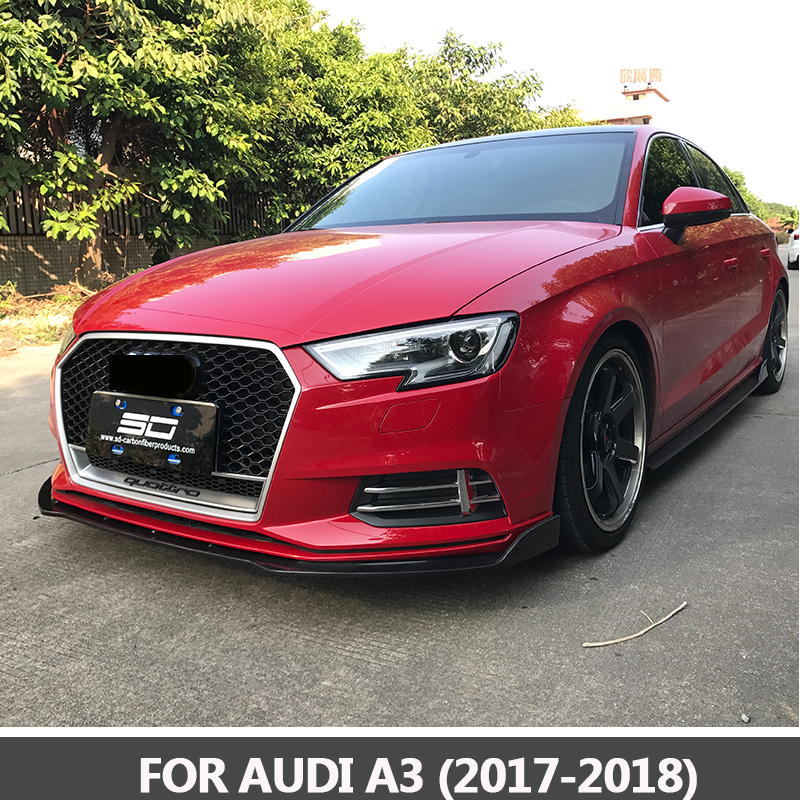 2017-2019 RS3 front Grille Racing Grills Honeycomb quattro grills for Audi A3 to RS3 front bumper brand new a3 rs3 abs oem style auto car front bumper mesh grills with camera hole for audi fit for a3 rs3 2013 2014