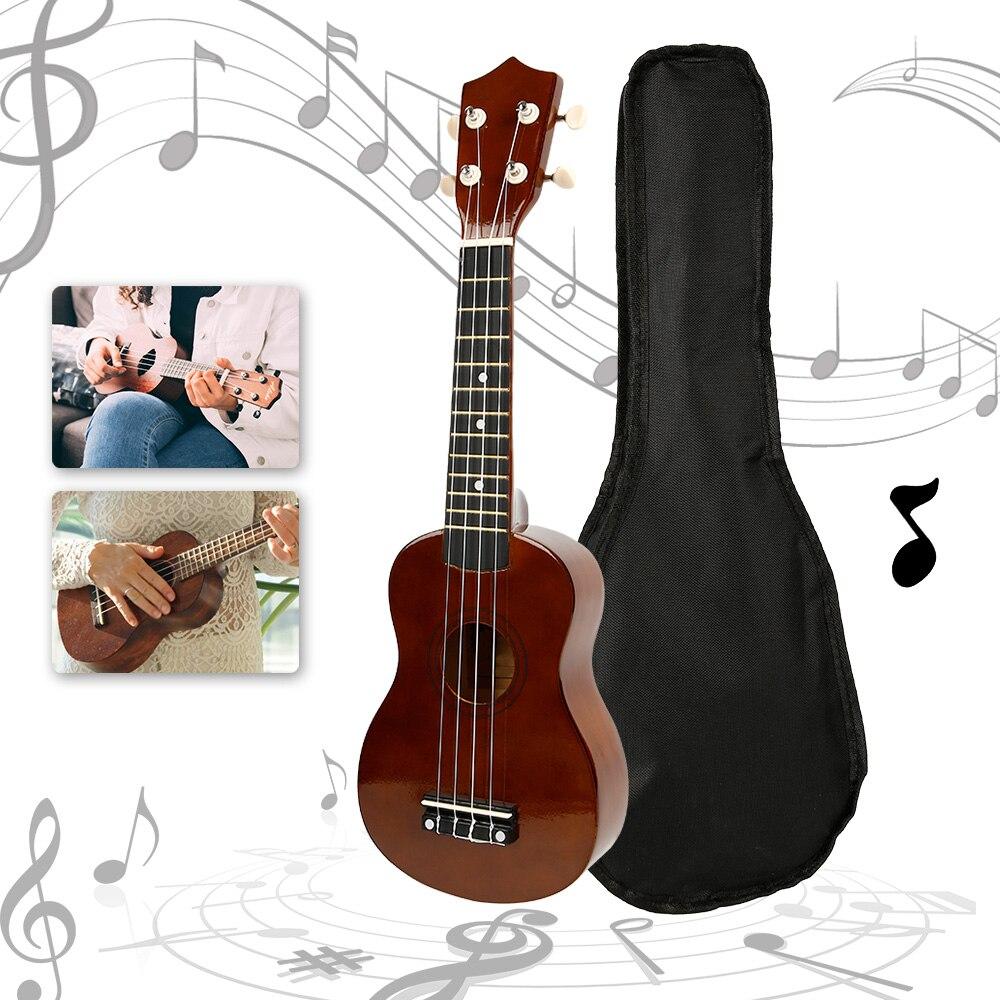 21inch Ukulele Burlywood Brown Hawaii Bass Stringed Musical Instrument Guitar Sapele 4 Strings Hawaiian Spring Beach Vacation