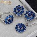 Elegante Diseño Creado Sapphire 3 Unids Sistemas de La Joyería Grande de La Flor Azul Piedra Cúbica Circón Collar/Pendientes/Colgantes Para mujeres J173