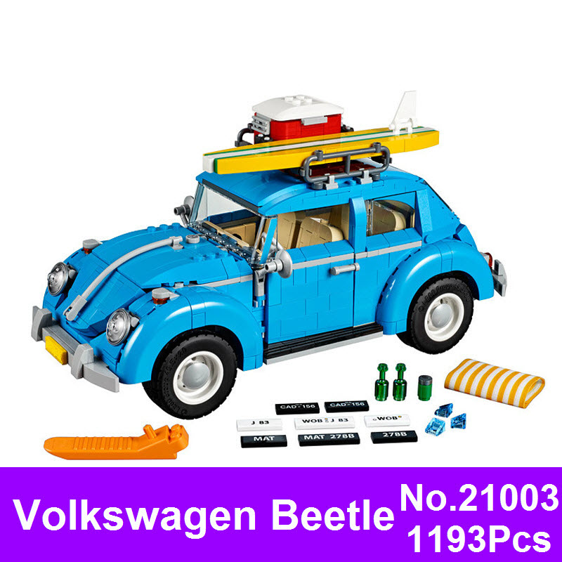 LEPIN 21003 1193Pcs City Series Car Volkswagen Beetle Model Building Blocks Toy Car Technic Bricks Compatible 10252 For Children 4695pcs lepin 16001 city series firehouse headquarters house model building blocks compatible 75827 architecture toy to children