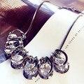2016 Nueva Llegada Mujeres Colgante Collares de Lujo Brillante de Cristal de Cadena Corta de Corea Accesorios de Vestir Joyas de la Clavícula