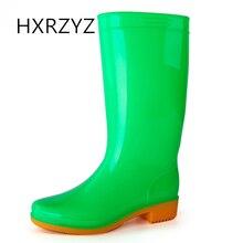 HXRZYZ женщин дождь сапоги дамы колено высокие резиновые сапоги весной и осенью мода ПВХ конфеты водонепроницаемый Slip-Resistant обувь женщин
