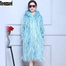 ファッションフェイク毛皮のコート特大シャギー毛深いフェイクファージャケットふわふわヴィンテージプラスサイズオーバーコート 6xl 5xl 7xl