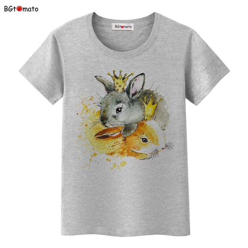 BGtomato Femmes Fruit Impression Lapin Dans La Couronne D'été T-shirt O-cou À Manches Courtes T Occasionnel Tops Femme T-shirt Femme Vêtements