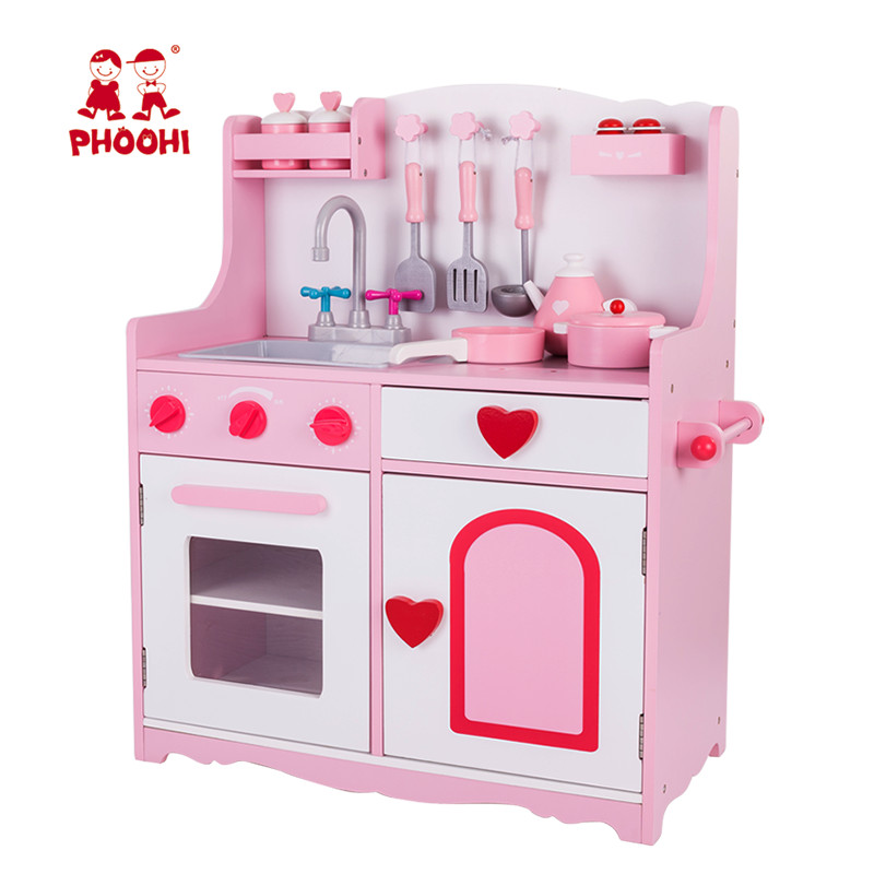 wooden play kitchen small pantry ideas us 19 99 phoohi 2018 children pretend food gametoy pink stove toy kids set with accessories sawt963 5 in