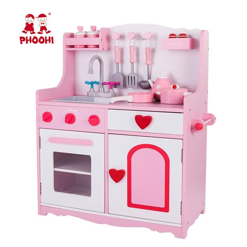 Phoohi 2018 Children Pretend Kitchen Food Play Gametoy Pink Stove