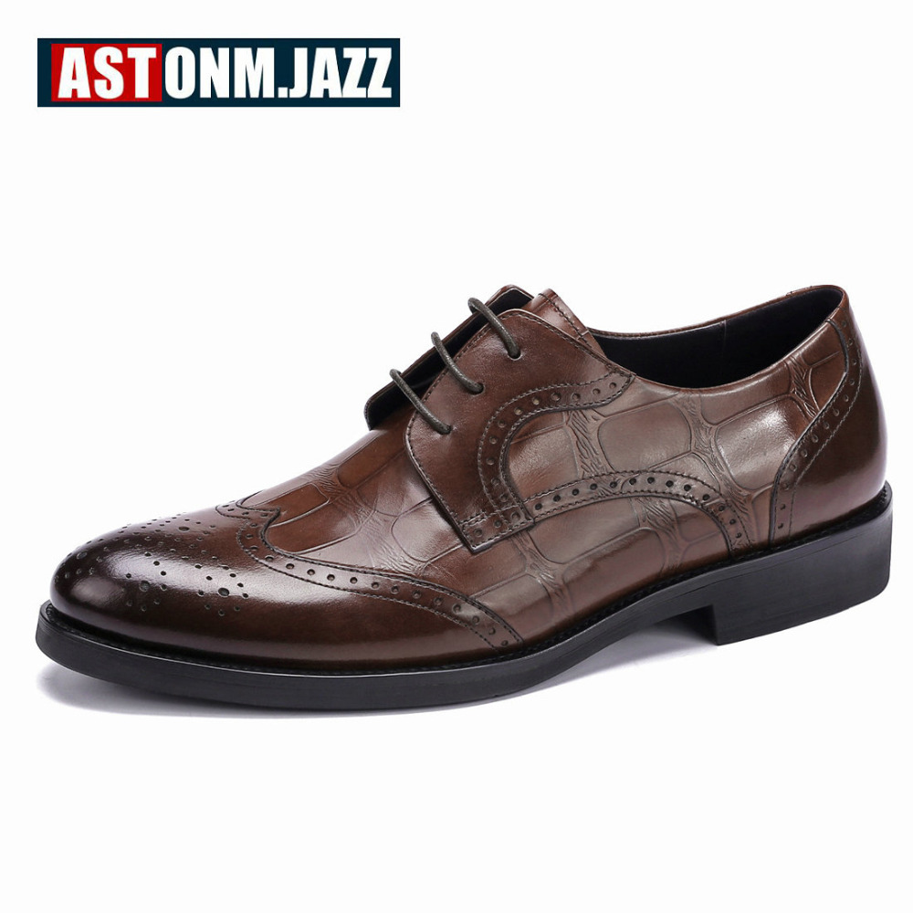 Men's Wedding Dress Shoes Casual Crocodile Genuine Leather Pointed Toe Oxfords Shoes Bussiness Brogues Shoes Moccasins For Men men s casual genuine leather crocodile oxfords shoes wedding shoes for mens brogues shoes gentleman business shoe dress moccasin
