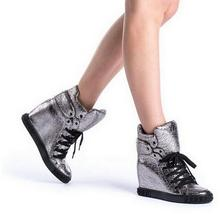 New Arrival Winter Fashion Women Warm Shoes Lace-Up High Heel Pleated High Quality Wedges Leisure Shoes Plus Size 10 Free Ship