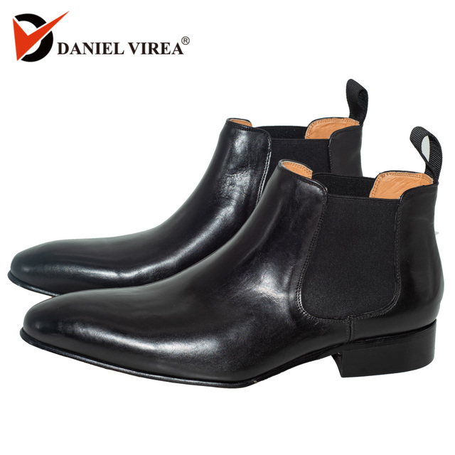 Chelsea Boots men Italy Style Fashion Ankle Brogues hard Casual genuine leather Boots