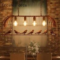 Iron individualiteit originaliteit kooi lamp koffie bar restaurant studie Amerikaanse stijl retro eenvoudige vogel Kroonluchter Verzendkosten gratis