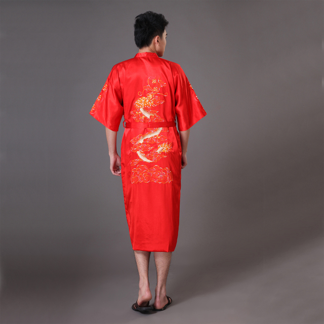 Plus Size XXXL Red Men Dragon Robe Chinese Male Silk Satin Nightwear Bathrobe Traditional Embroidery Kimono Yukata Gown MR007