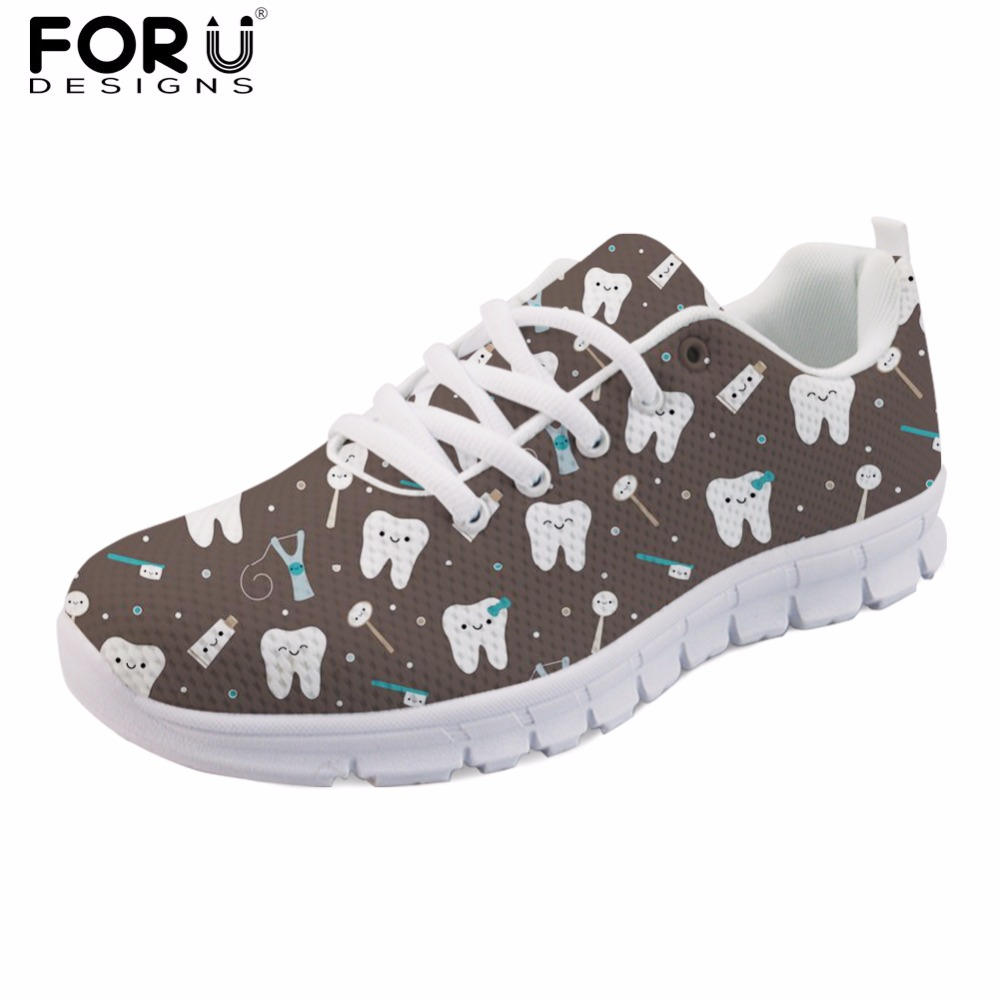 FORUDESIGNS Zapatos Mujer Black Women Flats Shoes Spring Summer Cute Dentist Printed Ladies Casual Walking Shoes Sneakers Woman instantarts 2018 cute cartoon cat printed women s flats shoes female summer mesh flat sneakers shoes casual shoes zapatos mujer