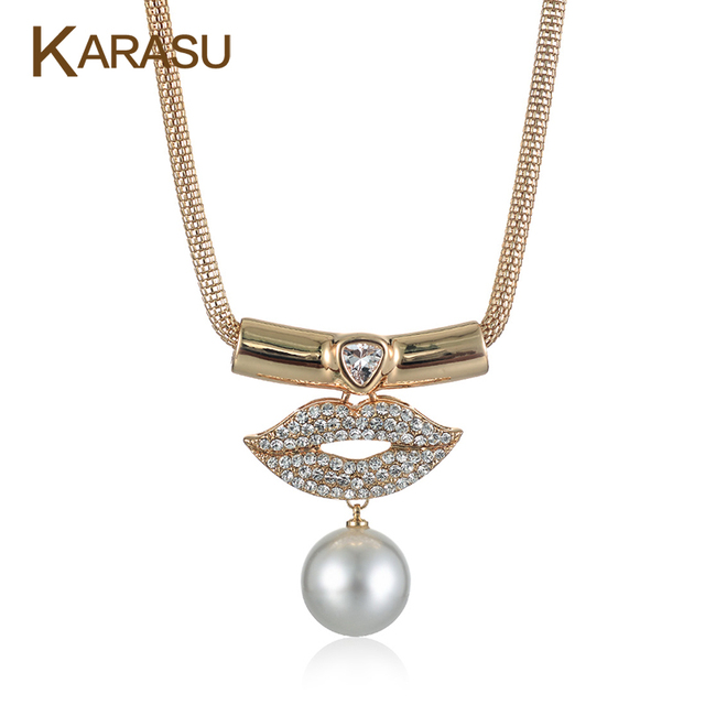Gold Plated Big Simulated Pearl Lips Shiny Rhinestones Pendant Gold Plated Chain Choker Statement Necklaces for Women Jewelry