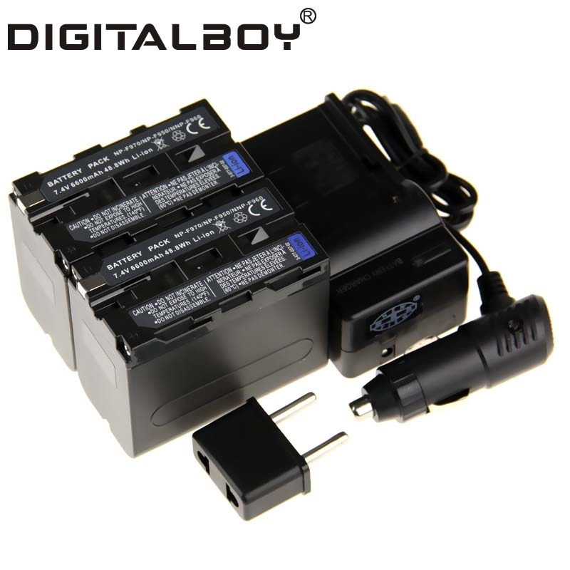 ФОТО Digital Boy (4pcs/1set) 2x NP-F970 NP F970 NPF970 Battery+Charger+Car Charger For Sony NP-F960 NP-F950 NP-F930 z1