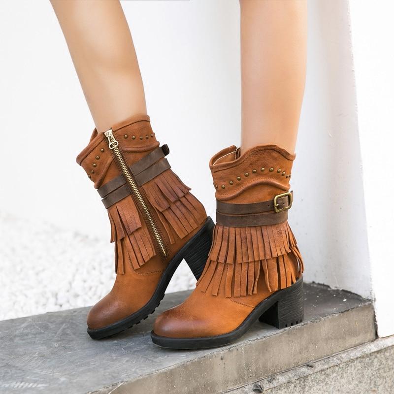 Lady Short Tassel Fringe Boots   1