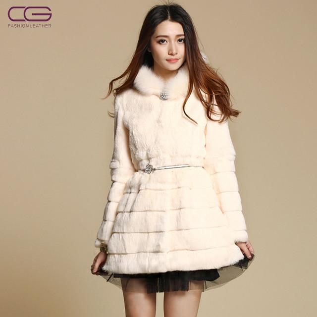 HOT new high grade Rabbit fur coat,Elegant Ladies' fox fur hooded overcoat,Plus size women's fur coat free shipping FC1203