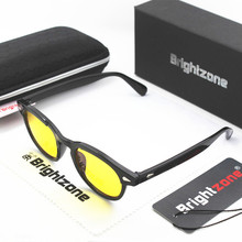 Brightzone Metal Rivet Oval Round Anti Blue Computer Reading Night Driving Glasses Men UV400 Yellow Sunglasses game points