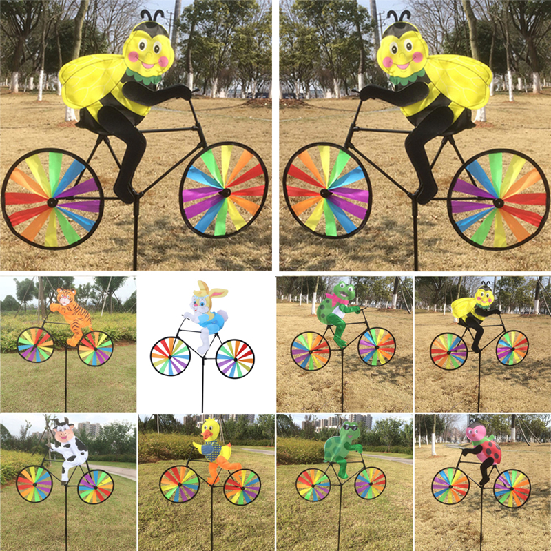 1Pc Cute 3D Animal on Bike Windmill Wind Spinner Whirligig Garden Lawn Yard Decor Kids Toy