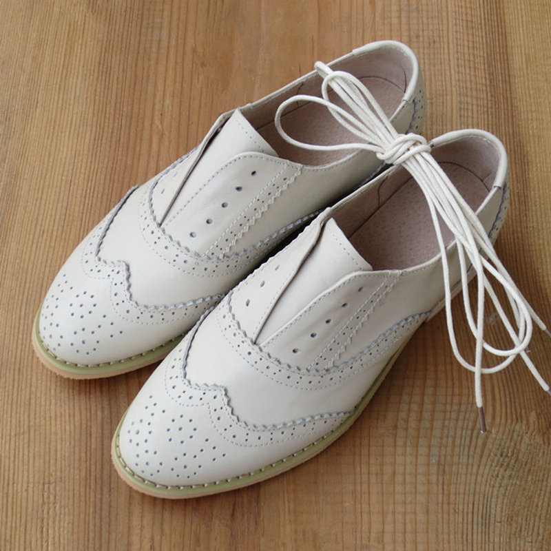 Brand Genuine Leather Women Oxford Shoes Lace Up White Shoes For Women New Quality Flat Leather