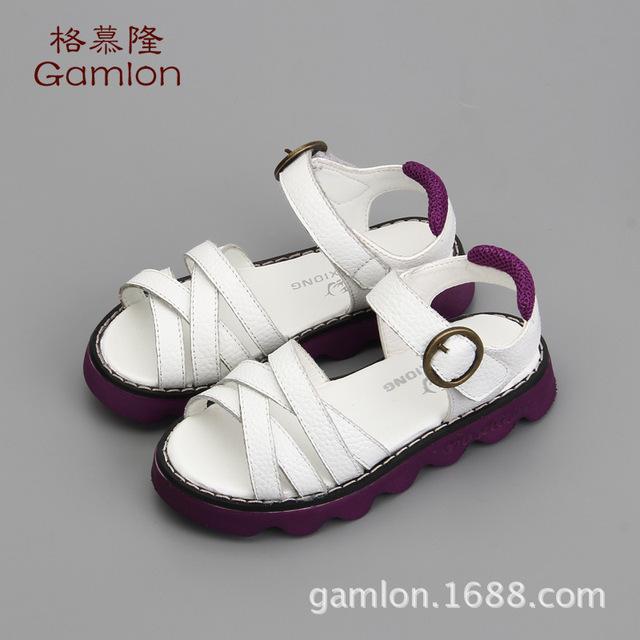New Girls Sandals 2016 Summer Shoes Female Baby Princess Leather Sandals Children's Korean Students Soft bottom For Kids