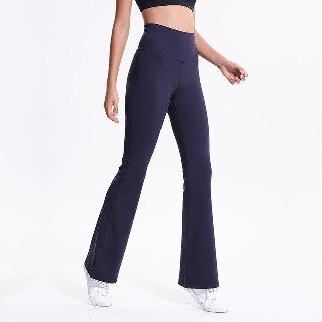 b963374292 Women's Navy Blue Tall Boot Cut Pants High Waist Elastic Wide Leg Long Pants  Sports Fitness Nylon+Spandex Basic Yoga Pants