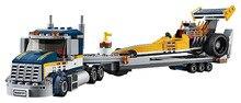City Great Vehicles Dragster Transporter Building Blocks Sets Bricks Kids Model Kids Toys Marvel Compatible Legoings