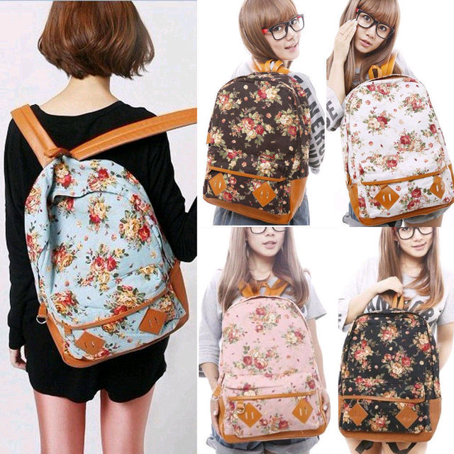 b92300a8d54 New Hot sale Floral Printed Canvas Backpack College New Fashion Girls  School  Bag Flowers Women Knapsack Rucksack Schoolbag Free