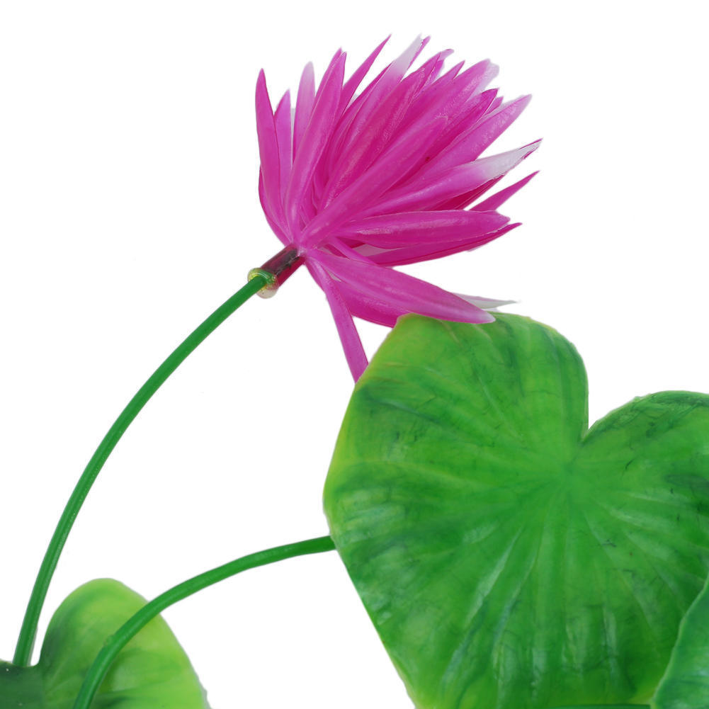 Water Artificial Plastic Lotus Flower Plants Fish Tank Aquarium