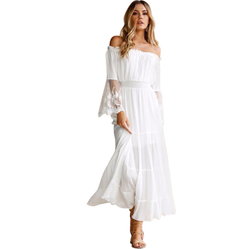 New arrival Party Club Sexy Fashion Women Summer Dress Europe and America  Lace stitching strapless beach