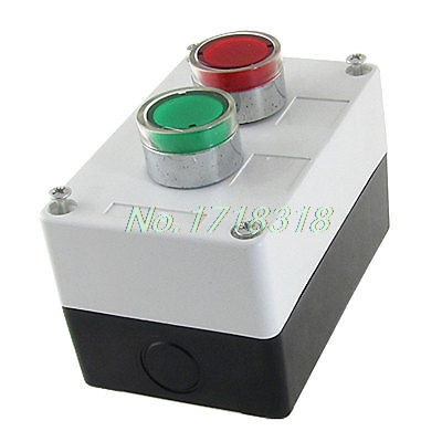 цена на AC 110V Red Green Signal Lamp Momentary Push Button Switch Station Box NO N/O