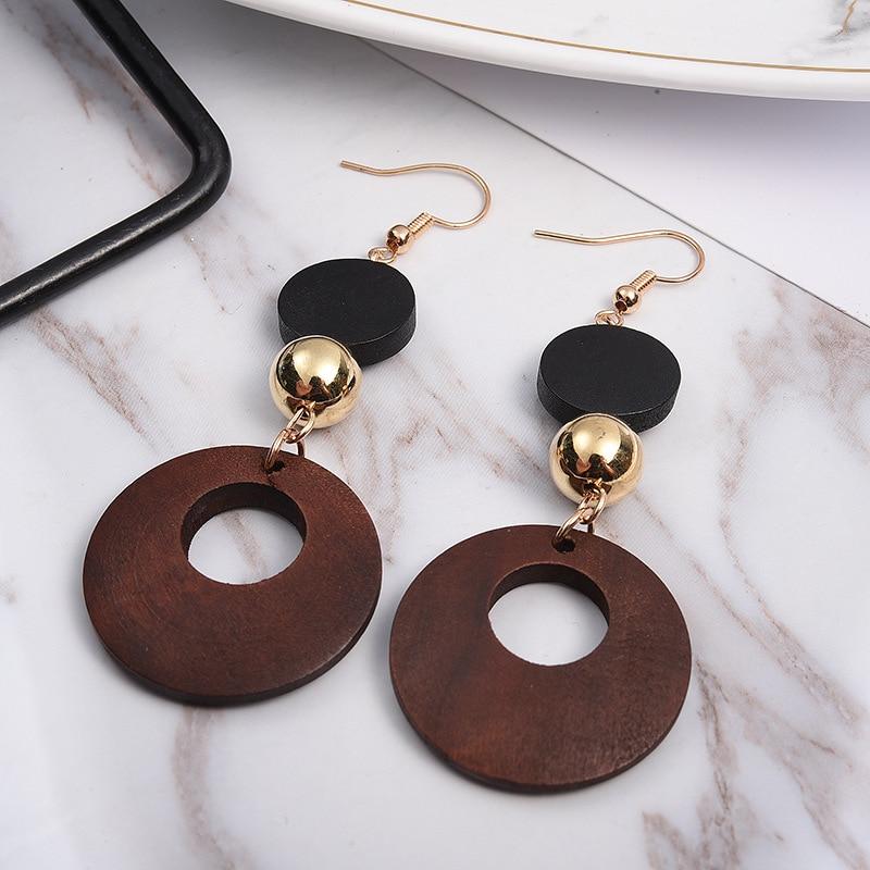 Simple Fashion Wweet Geometric Wooden Earrings Female Long Dangle Earrings