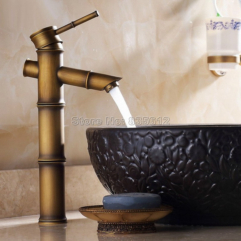 ФОТО Retro Bamboo Style Bathroom Faucet / Single Hole Deck Mounted Antique Brass Single Handle Vessel Sink Mixer Taps Wnf108