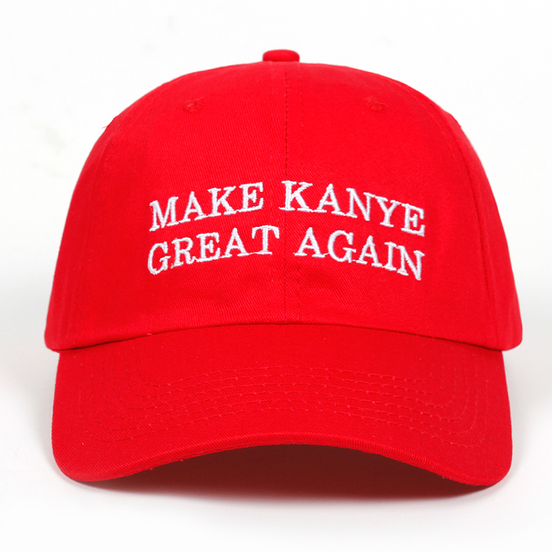 MAKE KANYE GREAT AGAIN dad Hat men women cotton   baseball     Caps   red Celebrity snapback golf   cap   hats Garros Casquette