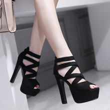 цены Spring Summer 15CM Fashion Thick With Sandals Fish Mouth Shoes High-heeled Hollow Sandals Nightclub High .ZYW-303-57