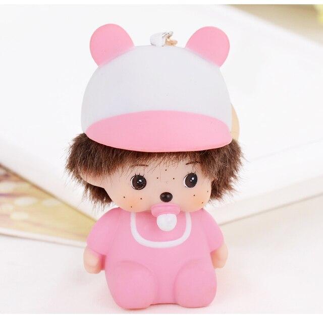 Pink Cute Boy Monchhichi Key Chain Monchichi Mon Chi Chi Little Monkey Purse Bag Key Pendant berloques Charns