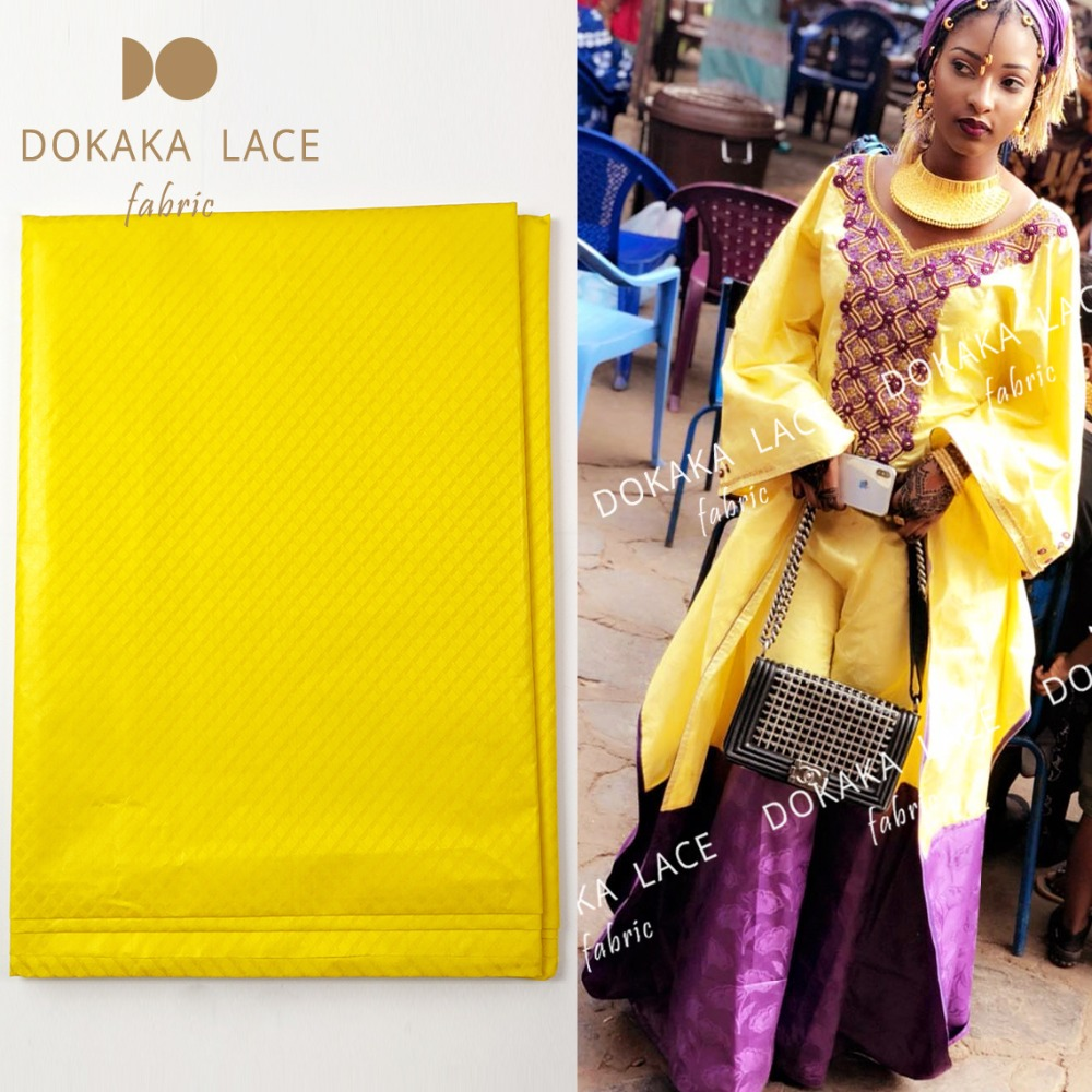 Yellow Senegal Guinea Bazin Riche Fabrics With Jacquard Pattern Indian Women Daily Dresses Design 5 Yards
