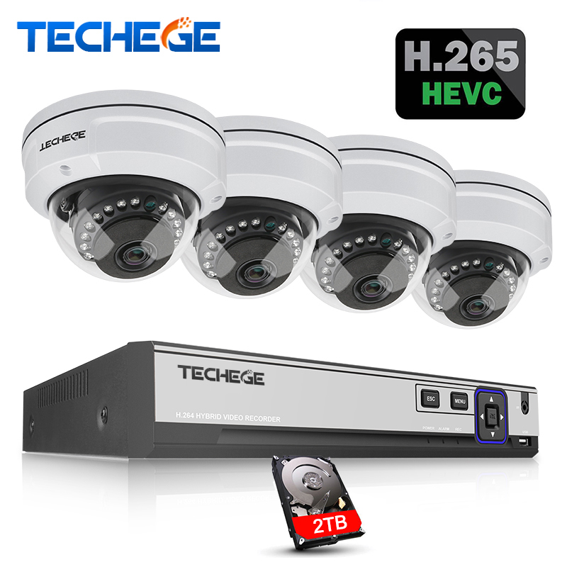 Techege H.265 4CH CCTV System 5MP 3MP 2MP POE IP Camera Waterproof Vandalprpof Motion Detect Email Alert Surveillance Camera Kit h 265 4ch cctv system 5mp 3mp 2mp metal outdoor ip camera 4ch 1080p poe nvr kit alarm email night vision app pc remote