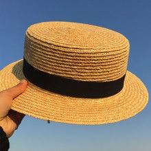 Sombreros paja sólido boater sombrero hombres mujeres Botero plana sombreros  de verano para las mujeres hombres 9f499e4a8e86