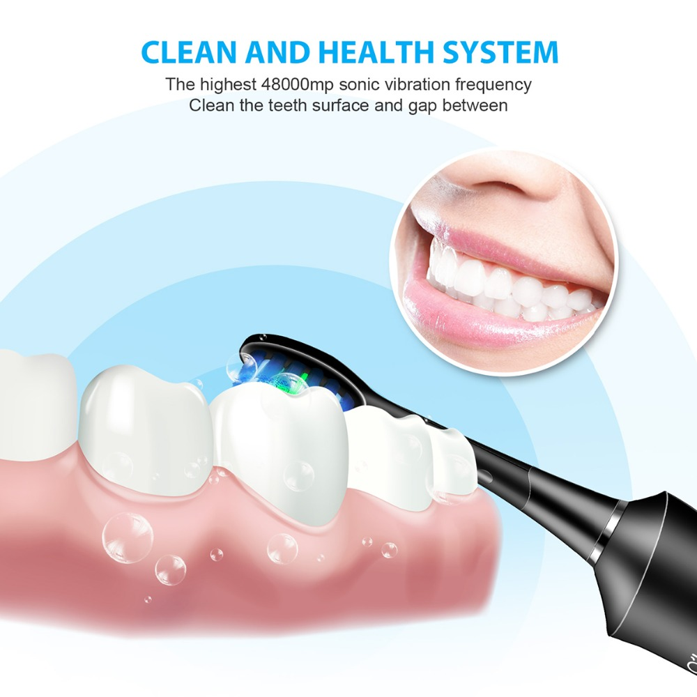 O'BELLA 071B Ultrasonic Electric Toothbrush 48000RPM Time Remind Adult Waterproof USB Rechargeable Tooth Brushes With Heads