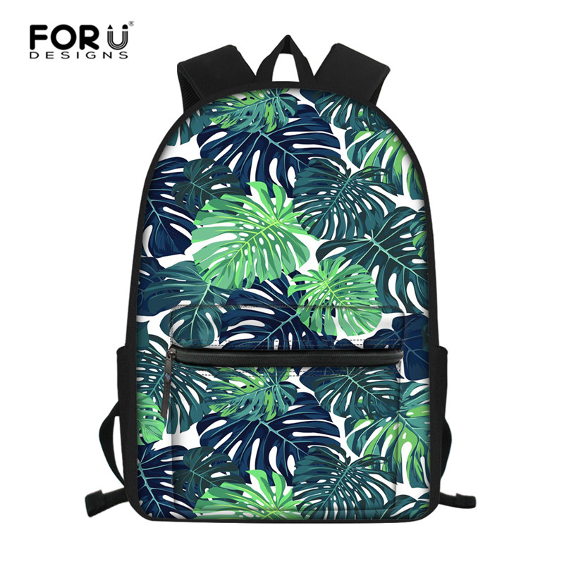 FORUDESIGNS Tropical Leaves Children Schoolbag Tudent School Backpack Bagpack Primary School Book Bags For Teenage Girls Boys