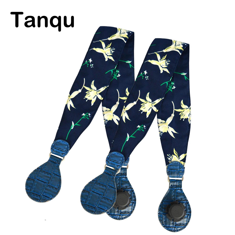 Tanqu 1 Pair Soft Floral Fabric Handle With Patchwork Drop End For Bag O Bag Handles For EVA Obag Handbag Women's Bags