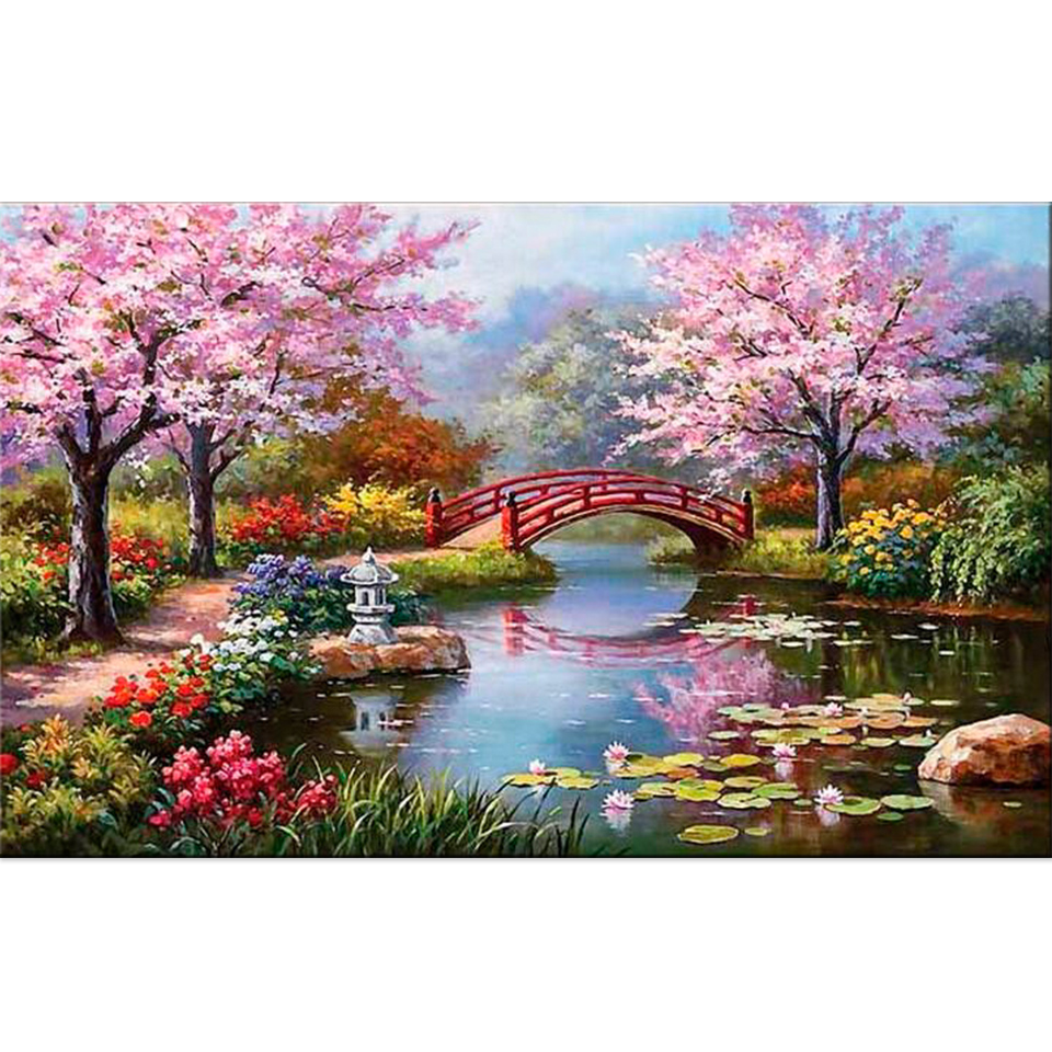 5D Diy Daimond Painting Tree&Flower 3D Diamond Painting Full beadwork pictures of Rhinestone Diamant Embroidery Garden Scenery