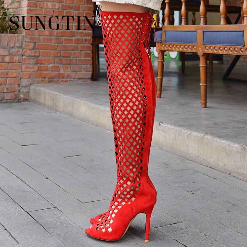 Encima rojo La Mujeres Muslo Sexy Alta Por Alto gris Zapatos Sungtin Del Negro Tacón Peep Verano Dama Rodilla Botas marrón Las Toe Gladiador Punk De wfwSq08